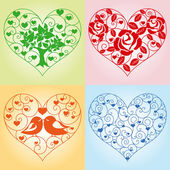 Set of floral hearts — Stock Vector