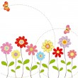 Springtime colorful flowers with butterfly greeting card — Stock Vector