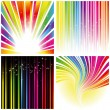 Abstract set of rainbow color stripe background - Stok Vektör