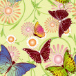 Abstract springtime colorful floral butterfly seamless pattern — Stock Vector