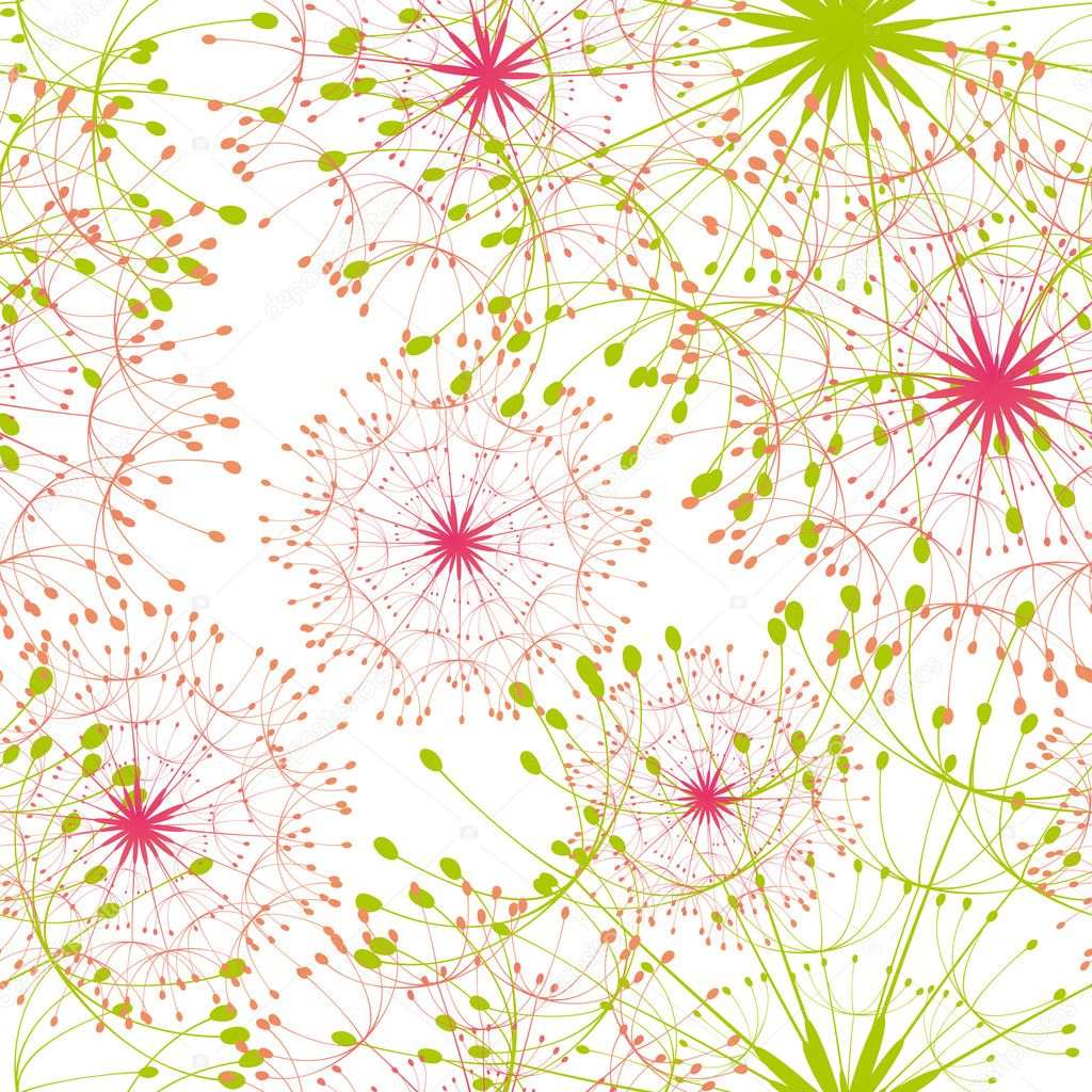 Abstract colorful dandelion seamless pattern — Stock Vector #5263814