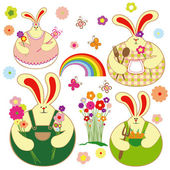 Set of colorful rabbit and springtime floral — Stock Vector