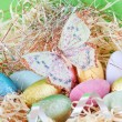 Colorful wrapped chocolate Easter eggs - Stockfoto