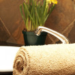Rolled up towel and flowers in bathroom — Stock Photo #5155323