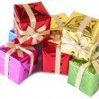 Stack of colorful gift boxes — Stock Photo