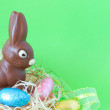 Easter chocolate eggs and bunny — Stock Photo