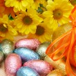 Colorful wrapped chocolate Easter eggs — Stock Photo #5156313