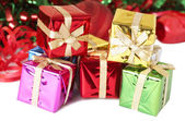 Stack of colorful Christmas gift boxes — Stock Photo