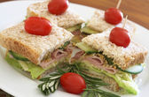 Tasty club sandwich on wholewheat bread — Stock Photo