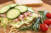 Tasty open sandwich on wholewheat bread — Stock Photo