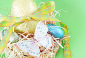 Colorful wrapped chocolate Easter eggs — Stock Photo