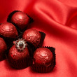 Valentines chocolate candy with a ring — Stock Photo #5160935