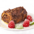 Miniature chocolate swiss roll - Stock Photo