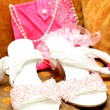 Stock Photo: Bridal shoes with beads and bag