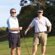 Golfers on the tee box — Stock Photo