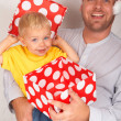 Baby boy with his father for Christmas — Stock Photo #5161680