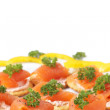 Smoked salmon and cream cheese on crackers — Stock Photo #5162115