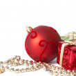Christmas gift boxes, ball and jewelry — Stock Photo