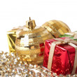 Christmas gift boxes, baubles and beads — Stock Photo #5162195