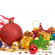 Red Christmas baubles and other decorations — Stock Photo #5164525
