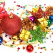 Red Christmas baubles and other decorations — Stock Photo #5164557
