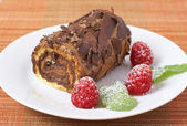 Miniature chocolate swiss roll — Stock Photo