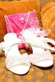 Bridal shoes with beads and bag — Stock Photo