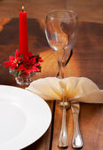 Table setting with a plate and cutlery — Stock Photo