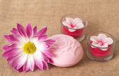 Relaxing spa scene with flower — Stock Photo
