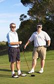 Golfers on the tee box — Stock Photo