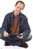 Young caucasian man studying — Stock Photo