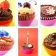 Cupcakes collage — Stock Photo