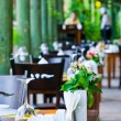 The served tables on a summer verandah — Stock Photo
