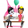 Mime and girl — Stock Vector