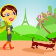 Woman with dog in Paris — Imagen vectorial