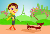 Woman with dog in Paris — Stock Vector