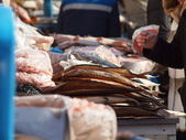 Fish market on the holiday — Stock Photo