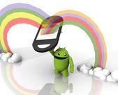 3d robo with rainbow phone — Stock Photo