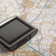 GPS device on a map — Stock Photo