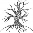 Stock Vector: Old tree without leaves. Stylization, black lines on white.
