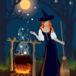 The red-haired witch in wood cooks at night a potion - Stock Vector