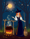 The red-haired witch in wood cooks at night a potion — Stock Vector
