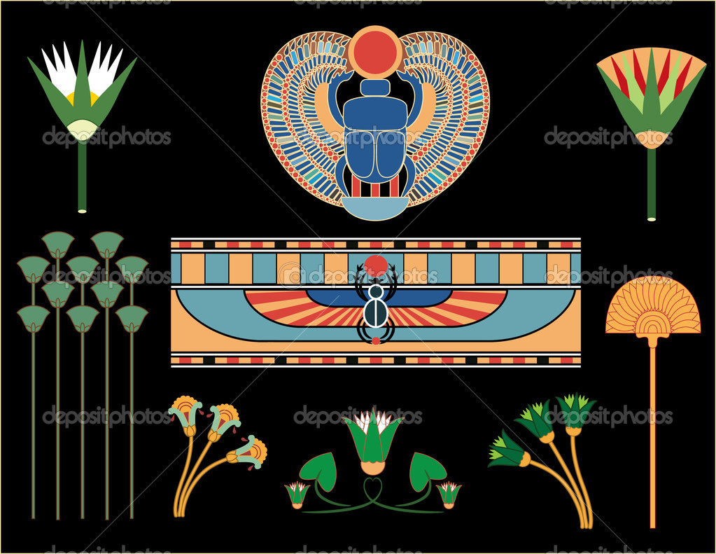 Ancient Egyptian symbols and signs(vector) - Stock Illustration