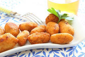 Ham and cheese spanish croquette with glass of beer — Stock Photo