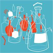 Bottles and wine-glasses — Stock Vector