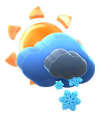 Sun and cloud with medium snow. — Stock Photo
