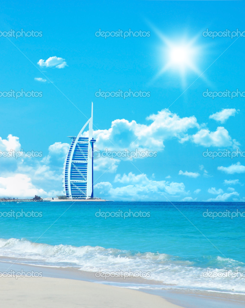 Dubai's famous Burj al Arab hotel  Stock Photo #5252872