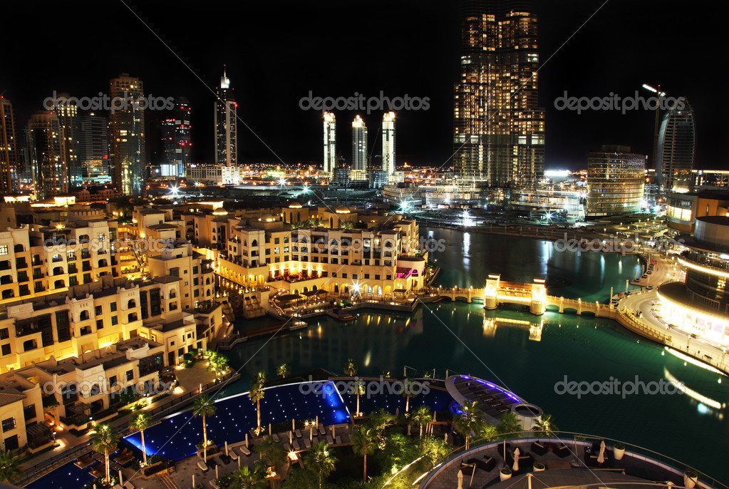 Dubai downtown at night   Stock Photo #5369078