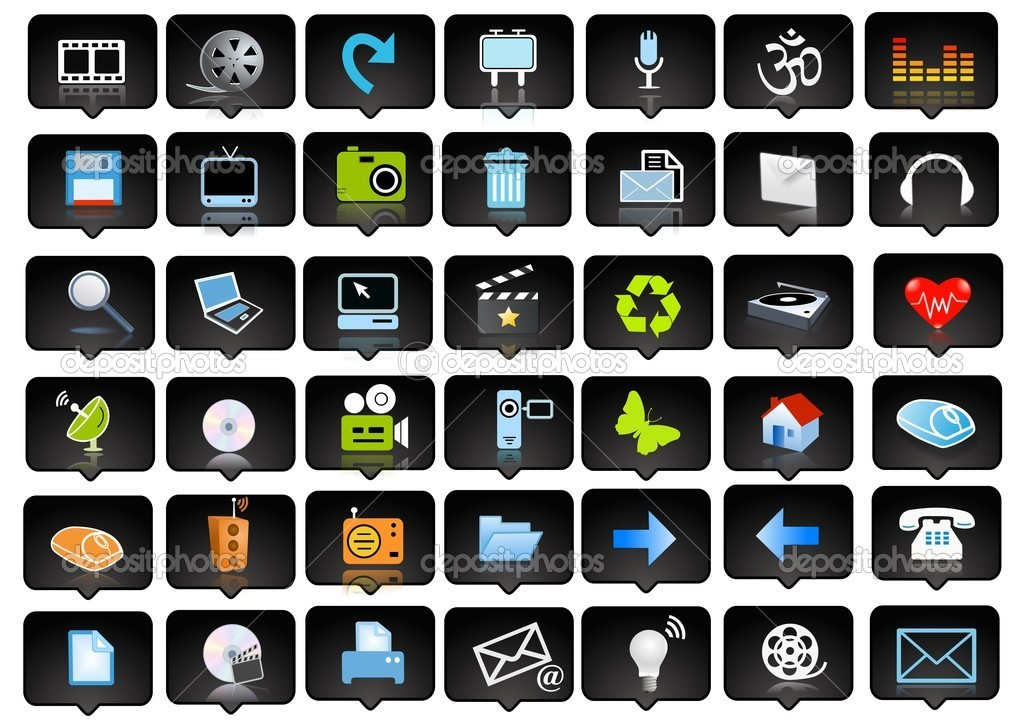 Icons set and logo - web page design elements — Stock Photo #5093908