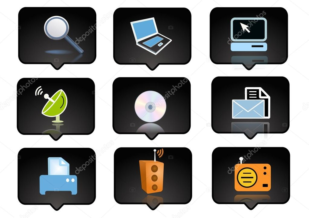 Computer icons set  over the black background - digitaly generated — Stock Photo #5153952